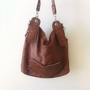 Handbags - Cognac 💯Cow Leather Buttery Soft Large Boho Bag
